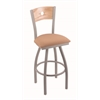 "830 Voltaire 36"" Bar Stool with Anodized Nickel Finish, Axis Summer Seat, Natural Oak Back, and 360 swivel"