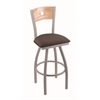 "830 Voltaire 36"" Bar Stool with Anodized Nickel Finish, Axis Truffle Seat, Natural Oak Back, and 360 swivel"