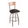"830 Voltaire 36"" Bar Stool with Anodized Nickel Finish, Black Vinyl Seat, Natural Oak Back, and 360 swivel"
