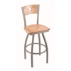 "830 Voltaire 30"" Bar Stool with Anodized Nickel Finish, Natural Oak Seat, Natural Oak Back, and 360 swivel"