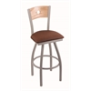 "830 Voltaire 36"" Bar Stool with Anodized Nickel Finish, Rein Adobe Seat, Natural Oak Back, and 360 swivel"
