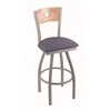 "830 Voltaire 25"" Counter Stool with Anodized Nickel Finish, Rein Bay Seat, Natural Oak Back, and 360 swivel"