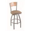"830 Voltaire 30"" Bar Stool with Anodized Nickel Finish, Rein Thatch Seat, Natural Oak Back, and 360 swivel"