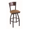 "830 Voltaire 30"" Bar Stool with Black Wrinkle Finish, Allante Beechwood Seat, Dark Cherry Maple Back, and 360 swivel"