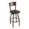 "830 Voltaire 30"" Bar Stool with Black Wrinkle Finish, Allante Dark Blue Seat, Dark Cherry Maple Back, and 360 swivel"