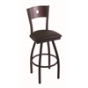 "830 Voltaire 36"" Bar Stool with Black Wrinkle Finish, Allante Espresso Seat, Dark Cherry Maple Back, and 360 swivel"