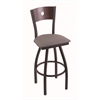 "830 Voltaire 30"" Bar Stool with Black Wrinkle Finish, Allante Dark Cherry Grey Seat, Dark Cherry Maple Back, and 360 swivel"