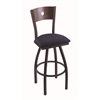 "830 Voltaire 36"" Bar Stool with Black Wrinkle Finish, Axis Denim Seat, Dark Cherry Maple Back, and 360 swivel"