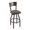 "830 Voltaire 30"" Bar Stool with Black Wrinkle Finish, Axis Grove Seat, Dark Cherry Maple Back, and 360 swivel"