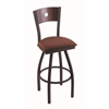 "830 Voltaire 25"" Counter Stool with Black Wrinkle Finish, Axis Paprika Seat, Dark Cherry Maple Back, and 360 swivel"