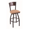 "Holland Bar Stool Co. 830 Voltaire 30"" Bar Stool with Black Wrinkle Finish, Axis Summer Seat, Dark Cherry Maple Back, and 360 swivel"