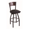 "Holland Bar Stool Co. 830 Voltaire 30"" Bar Stool with Black Wrinkle Finish, Black Vinyl Seat, Dark Cherry Maple Back, and 360 swivel"