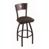 "830 Voltaire 30"" Bar Stool with Black Wrinkle Finish, Rein Coffee Seat, Dark Cherry Maple Back, and 360 swivel"