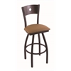 "830 Voltaire 30"" Bar Stool with Black Wrinkle Finish, Allante Beechwood Seat, Dark Cherry Oak Back, and 360 swivel"