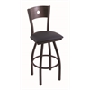 "830 Voltaire 30"" Bar Stool with Black Wrinkle Finish, Allante Dark Blue Seat, Dark Cherry Oak Back, and 360 swivel"