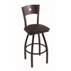 "830 Voltaire 30"" Bar Stool with Black Wrinkle Finish, Allante Espresso Seat, Dark Cherry Oak Back, and 360 swivel"