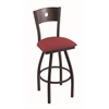 "Holland Bar Stool Co. 830 Voltaire 25"" Counter Stool with Black Wrinkle Finish, Allante Wine Seat, Dark Cherry Oak Back, and 360 swivel"