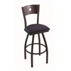 "830 Voltaire 30"" Bar Stool with Black Wrinkle Finish, Axis Denim Seat, Dark Cherry Oak Back, and 360 swivel"
