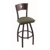 "830 Voltaire 30"" Bar Stool with Black Wrinkle Finish, Axis Grove Seat, Dark Cherry Oak Back, and 360 swivel"