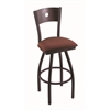 "830 Voltaire 36"" Bar Stool with Black Wrinkle Finish, Axis Paprika Seat, Dark Cherry Oak Back, and 360 swivel"