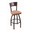 "830 Voltaire 36"" Bar Stool with Black Wrinkle Finish, Axis Summer Seat, Dark Cherry Oak Back, and 360 swivel"