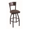 "830 Voltaire 30"" Bar Stool with Black Wrinkle Finish, Axis Truffle Seat, Dark Cherry Oak Back, and 360 swivel"