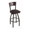 "830 Voltaire 30"" Bar Stool with Black Wrinkle Finish, Black Vinyl Seat, Dark Cherry Oak Back, and 360 swivel"