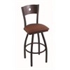 "830 Voltaire 36"" Bar Stool with Black Wrinkle Finish, Rein Adobe Seat, Dark Cherry Oak Back, and 360 swivel"