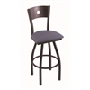 "830 Voltaire 36"" Bar Stool with Black Wrinkle Finish, Rein Bay Seat, Dark Cherry Oak Back, and 360 swivel"