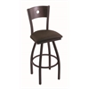 "830 Voltaire 30"" Bar Stool with Black Wrinkle Finish, Rein Coffee Seat, Dark Cherry Oak Back, and 360 swivel"