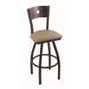 "830 Voltaire 30"" Bar Stool with Black Wrinkle Finish, Rein Thatch Seat, Dark Cherry Oak Back, and 360 swivel"