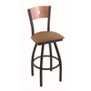 "830 Voltaire 30"" Bar Stool with Black Wrinkle Finish, Allante Beechwood Seat, Medium Maple Back, and 360 swivel"