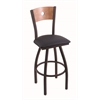 "830 Voltaire 30"" Bar Stool with Black Wrinkle Finish, Allante Dark Blue Seat, Medium Maple Back, and 360 swivel"