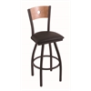 "830 Voltaire 30"" Bar Stool with Black Wrinkle Finish, Allante Espresso Seat, Medium Maple Back, and 360 swivel"