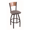"830 Voltaire 30"" Bar Stool with Black Wrinkle Finish, Allante Medium Grey Seat, Medium Maple Back, and 360 swivel"