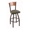 "830 Voltaire 30"" Bar Stool with Black Wrinkle Finish, Axis Grove Seat, Medium Maple Back, and 360 swivel"