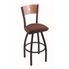 "830 Voltaire 30"" Bar Stool with Black Wrinkle Finish, Axis Paprika Seat, Medium Maple Back, and 360 swivel"