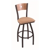 "830 Voltaire 30"" Bar Stool with Black Wrinkle Finish, Axis Summer Seat, Medium Maple Back, and 360 swivel"