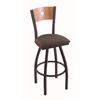 "830 Voltaire 36"" Bar Stool with Black Wrinkle Finish, Axis Truffle Seat, Medium Maple Back, and 360 swivel"