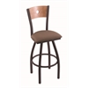 "830 Voltaire 30"" Bar Stool with Black Wrinkle Finish, Axis Willow Seat, Medium Maple Back, and 360 swivel"