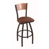 "830 Voltaire 30"" Bar Stool with Black Wrinkle Finish, Rein Adobe Seat, Medium Maple Back, and 360 swivel"