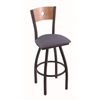 "830 Voltaire 30"" Bar Stool with Black Wrinkle Finish, Rein Bay Seat, Medium Maple Back, and 360 swivel"