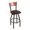 "830 Voltaire 30"" Bar Stool with Black Wrinkle Finish, Rein Coffee Seat, Medium Maple Back, and 360 swivel"