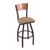 "830 Voltaire 30"" Bar Stool with Black Wrinkle Finish, Rein Thatch Seat, Medium Maple Back, and 360 swivel"