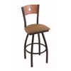 "830 Voltaire 30"" Bar Stool with Black Wrinkle Finish, Allante Beechwood Seat, Medium Oak Back, and 360 swivel"