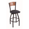 "Holland Bar Stool Co. 830 Voltaire 30"" Bar Stool with Black Wrinkle Finish, Allante Dark Blue Seat, Medium Oak Back, and 360 swivel"