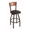 "830 Voltaire 30"" Bar Stool with Black Wrinkle Finish, Allante Espresso Seat, Medium Oak Back, and 360 swivel"