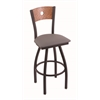 "830 Voltaire 30"" Bar Stool with Black Wrinkle Finish, Allante Medium Grey Seat, Medium Oak Back, and 360 swivel"