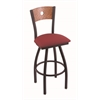 "830 Voltaire 36"" Bar Stool with Black Wrinkle Finish, Allante Wine Seat, Medium Oak Back, and 360 swivel"