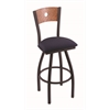 "830 Voltaire 30"" Bar Stool with Black Wrinkle Finish, Axis Denim Seat, Medium Oak Back, and 360 swivel"